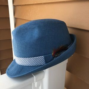 Brent for Montgomery Ward Blue Fedora Hat Feather